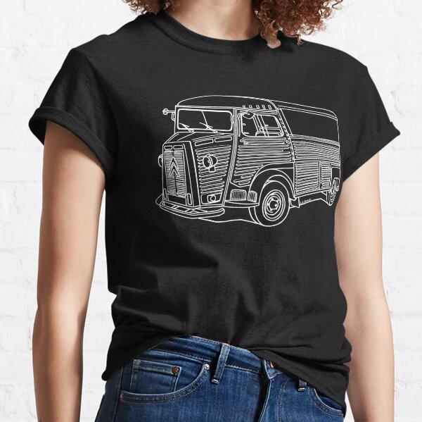 Le van français classique en dessin au trait blanc T-shirt classique