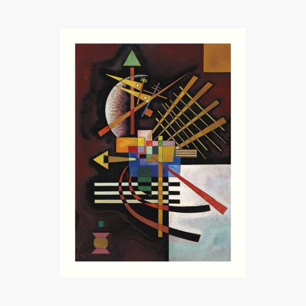 Kandinsky - Arriba e izquierda, famosa obra de arte abstracta Lámina artística
