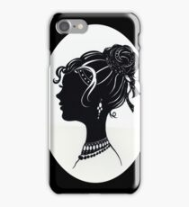 Vintage Fashion Silhouette, Old Fashioned Vanity , Beauty black white iPhone Case/Skin