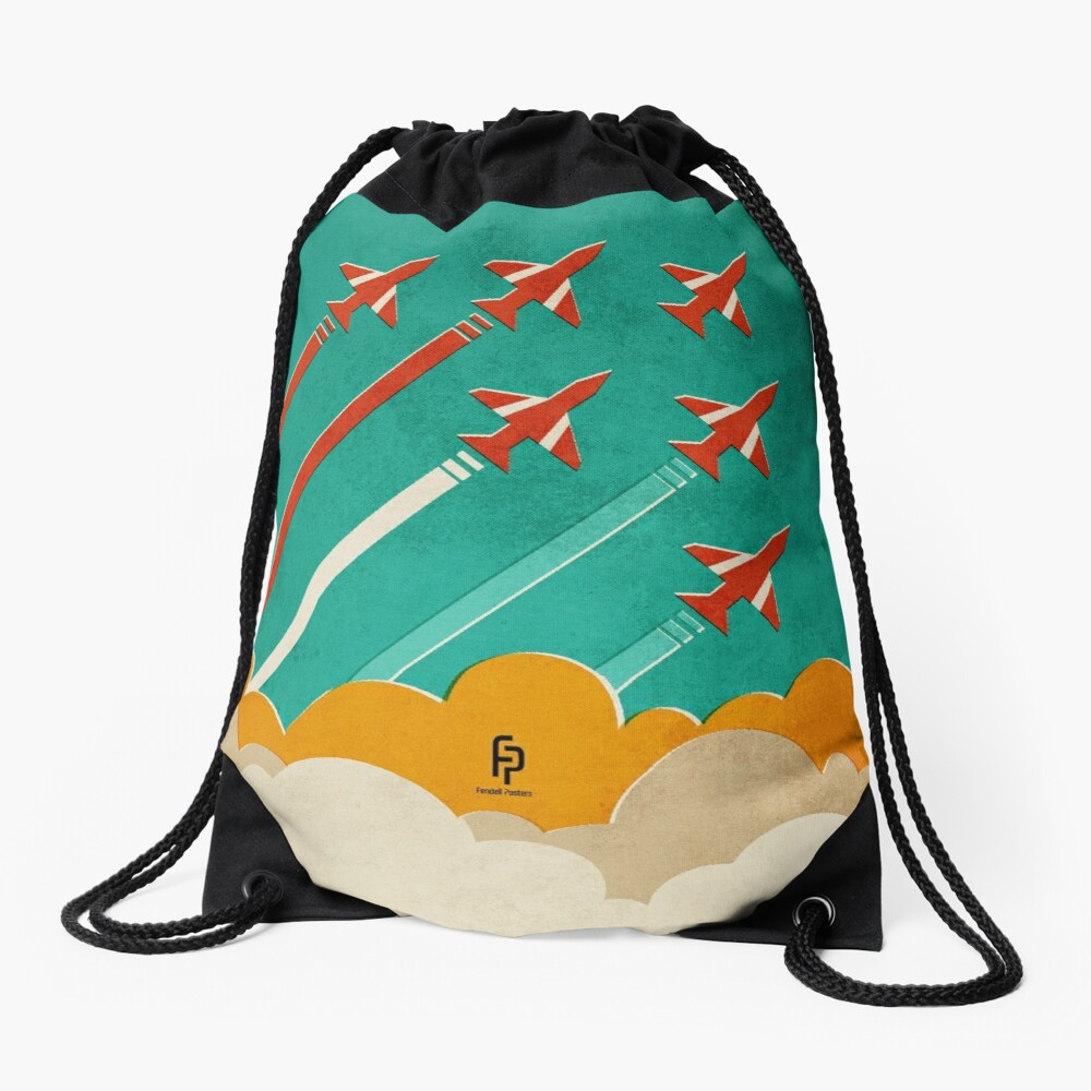 The Red Arrows over the Thames Estuary Drawstring Bag Front