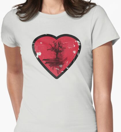 Love Nature - Grunge Tree and Heart - Earth Friendly T Shirt T-Shirt