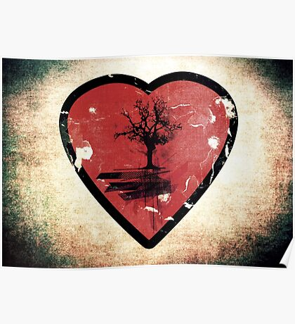 Love Nature - Grunge Tree and Heart - Earth Friendly T Shirt Poster