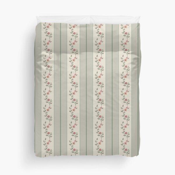 Vintage Striped Floral Pattern - Beige and Green Duvet Cover