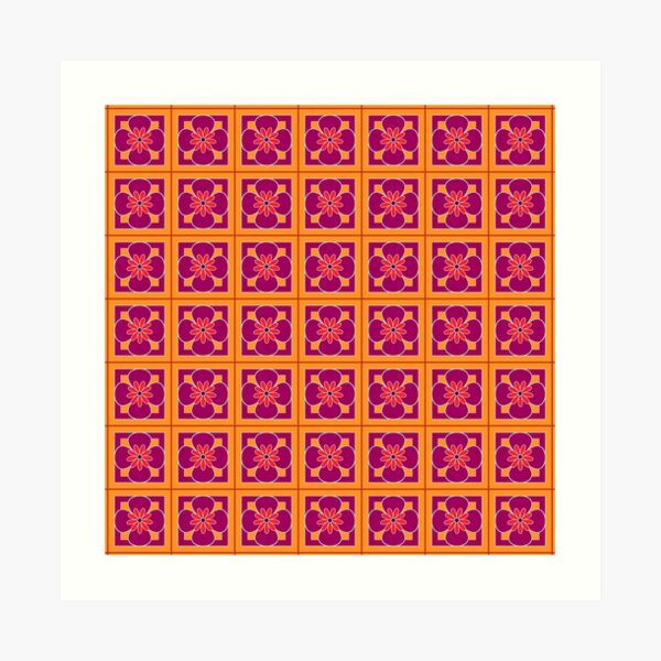 Beautiful floral tile repeat pattern, burgundy, silver, bright red on golden yellow Art Print