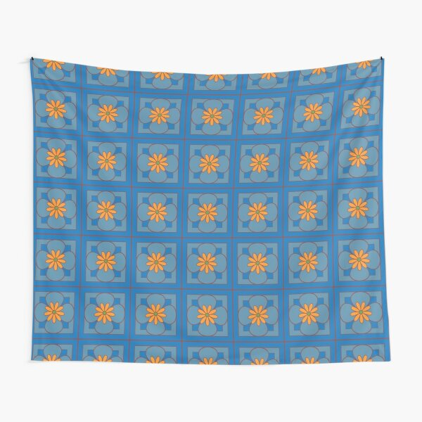 Beautiful floral tile repeat pattern, dusty blue and orange on blue Tapestry