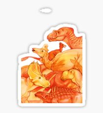 cretaceous congregation - orange & yellow dinosaurs Sticker