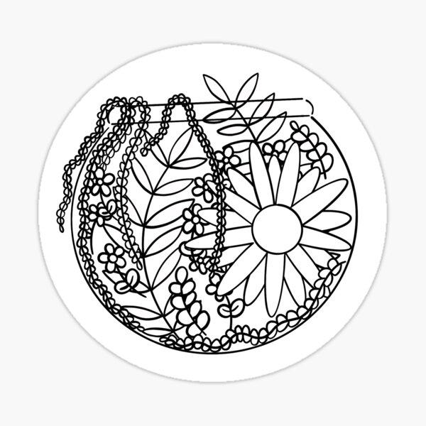Floral Fishbowl Abundance Design Sticker