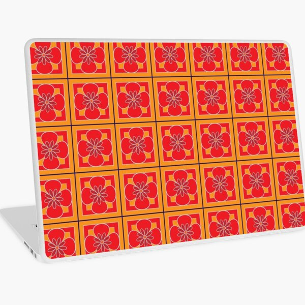 Beautiful floral tile repeat pattern, bright red, golden yellow, dark red Laptop Skin