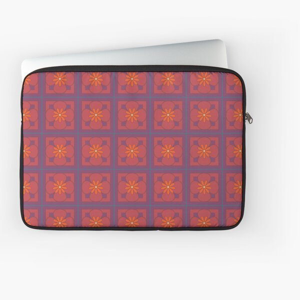 Beautiful floral tile repeat pattern, bright orange, dusky orange and misty purple Laptop Sleeve