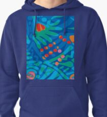 Colorful Tropical Print Abstract in Blue and Green Pullover Hoodie