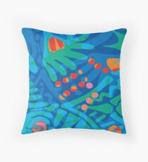 Colorful Tropical Print Abstract Art Mini Skirt in Blue and Green Throw Pillow