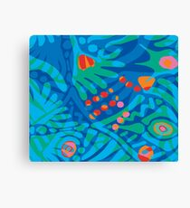Colorful Tropical Print Abstract Art Mini Skirt in Blue and Green Canvas Print
