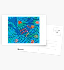Colorful Tropical Print Abstract Art Mini Skirt in Blue and Green Postcards