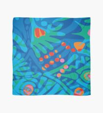 Colorful Tropical Print Abstract Art Mini Skirt in Blue and Green Scarf