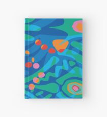 Colorful Tropical Print Abstract Art Mini Skirt in Blue and Green Hardcover Journal