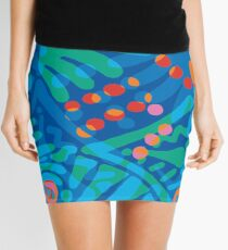Colorful Tropical Print Abstract Art Mini Skirt in Blue and Green Mini Skirt
