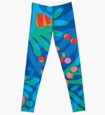 Colorful Tropical Print Abstract Art Mini Skirt in Blue and Green Leggings