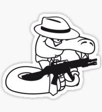 gangster mafia violence weapon machine gun rattlesnake poisonous nasty bite dangerous comic cartoon snake Sticker