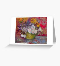 'Still Life with Roses and Sunflowers' by Vincent Van Gogh (Reproduction) Greeting Card