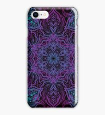 Vintage luxury background with a black backdrop and blue ornaments. iPhone Case/Skin