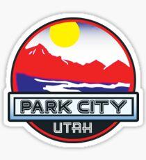 Park City Utah Mountains River Skiing Sun Sticker