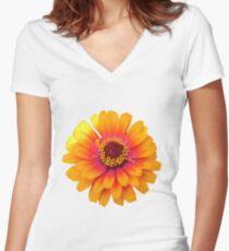 Vibrant Orange Flower Women's Fitted V-Neck T-Shirt