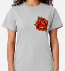 Neotraditionelle Rose in Rot Classic T-Shirt