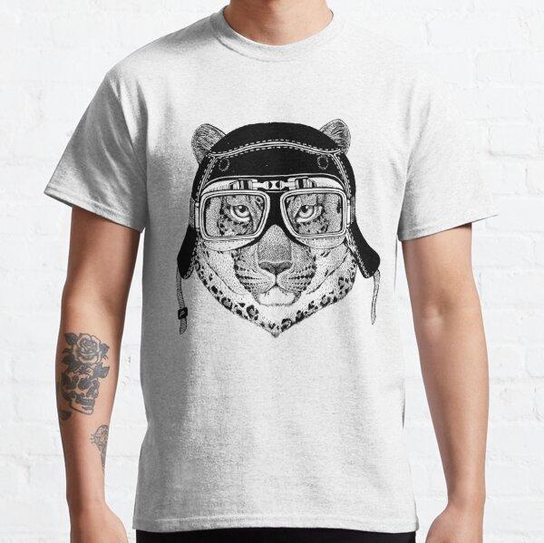 Motorcyclist leopard, leopard animal print, leopard motorcycle rider, cool wild cat biker gift, hipster motorbike Classic T-Shirt