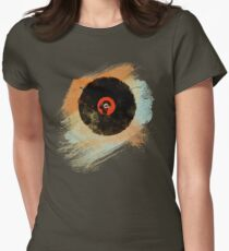 Vinyl Record Retro T-Shirt - Vinyl Records New Grunge Design Womens Fitted T-Shirt