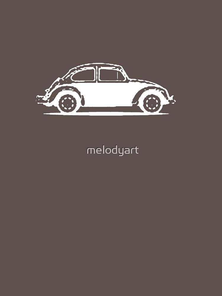 1961 Beetle - White print by melodyart