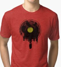Green Melting Vinyl Records Vintage  Tri-blend T-Shirt