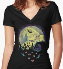 Nightmare Moon Women's Fitted V-Neck T-Shirt