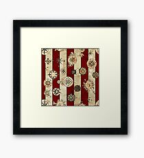 Vintage Red Stripes and Compass Framed Print