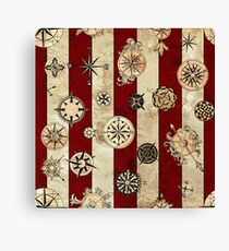 Vintage Red Stripes and Compass Canvas Print