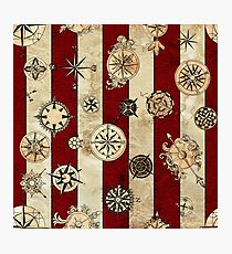 Vintage Red Stripes and Compass Photographic Print