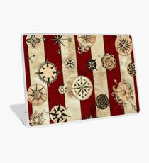 Vintage Red Stripes and Compass Laptop Skin