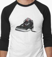"Air Jordan 3 (III) ""BLACK & CEMENT"" Men's Baseball ¾ T-Shirt"