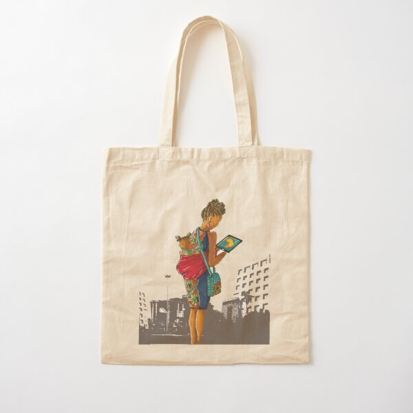 Urban cityscape - mother and child Cotton Tote Bag
