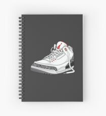 "Air Jordan 3 (III) ""WHITE & CEMENT"" Spiral Notebook"