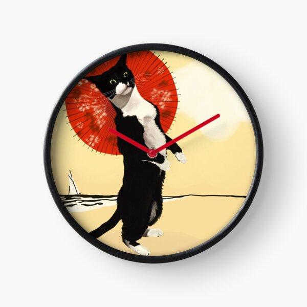 Classy Cat at the Beach Clock