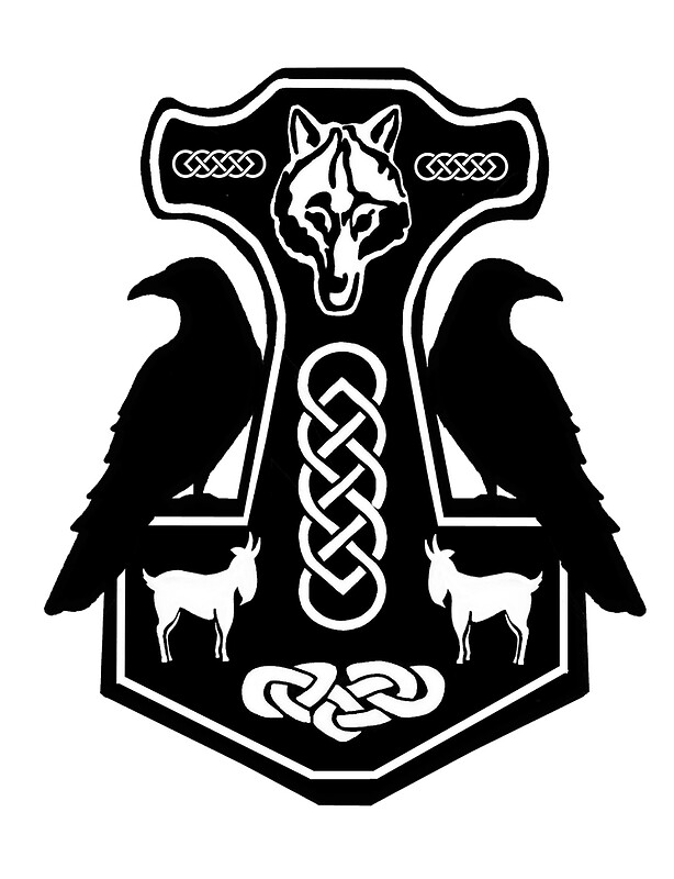 """Thor's Hammer with Ravens"" by imphavok 