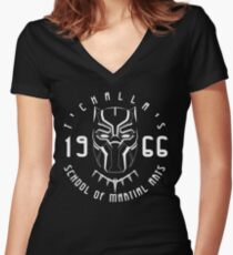 T'challa's School of Martial Arts Women's Fitted V-Neck T-Shirt