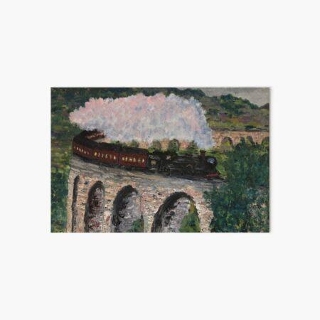 Train steaming over bridge Art Board Print