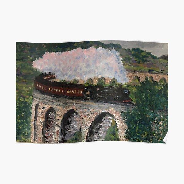 Train steaming over bridge Poster