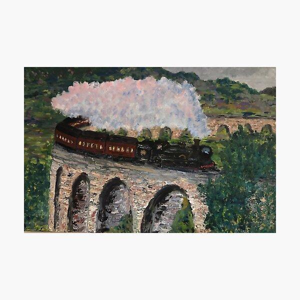 Train steaming over bridge Photographic Print