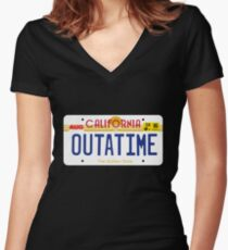 Outatime License Plate Women's Fitted V-Neck T-Shirt
