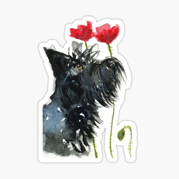 Scottie Dog 'Poppies' Sticker