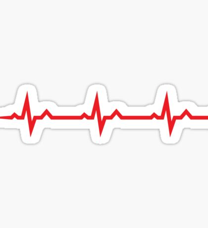 Pulse wave sticker and cup - three red ECG waves Sticker