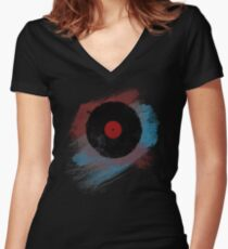 Vinyl Record - Modern Vinyl Records Grunge Design - Tshirt and more Women's Fitted V-Neck T-Shirt