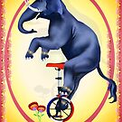 Elephant-Unicycle Oval by Lotacats